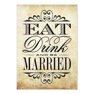 """Coma, bebida y esté casado - muestra del boda del invitación 5"""" x 7"""""""