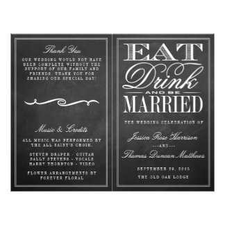 """Coma, bebida y sea boda casado de la pizarra folleto 8.5"""" x 11"""""""