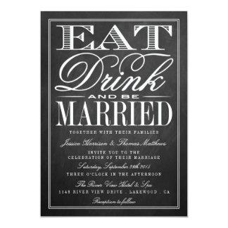 """Coma, bebida y sea boda casado de la pizarra invitación 5"""" x 7"""""""
