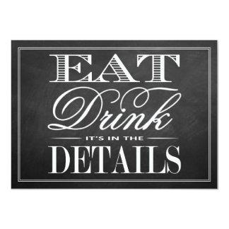 """Coma, bebida y sea boda casado de la pizarra invitación 4.5"""" x 6.25"""""""