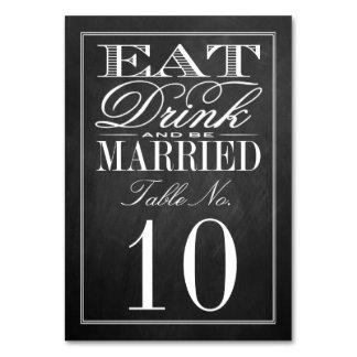 Coma, bebida y sea boda casado de la pizarra