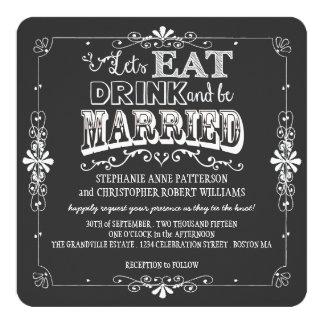 Coma, bebida y sea boda casado del estilo de la comunicado personal