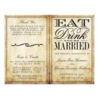 """Coma, bebida y sea boda casado del vintage folleto 8.5"""" x 11"""""""