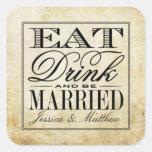 Coma, bebida y sea boda casado del vintage pegatina cuadrada