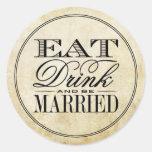 Coma, bebida y sea boda casado del vintage pegatina redonda