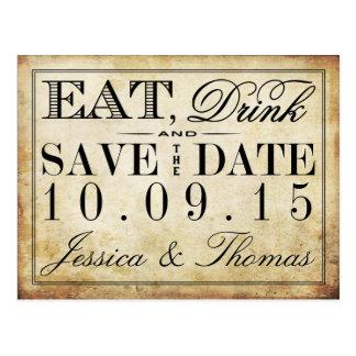 Coma, bebida y sea boda casado del vintage postal