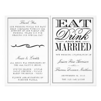 "Coma, bebida y sea boda negro/blanco moderno folleto 8.5"" x 11"""