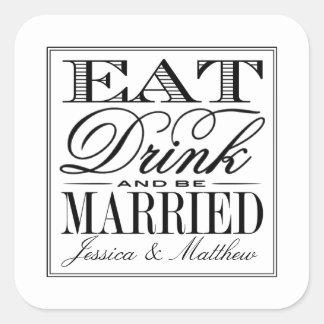 Coma, bebida y sea boda negro/blanco moderno pegatina cuadrada