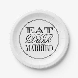 Coma, bebida y sea boda negro/blanco moderno plato de papel de 7 pulgadas