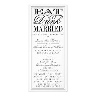 Coma, bebida y sea boda negro/blanco moderno tarjetas publicitarias