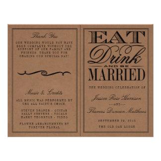 """Coma, bebida y sea boda rústico casado de Kraft Folleto 8.5"""" X 11"""""""
