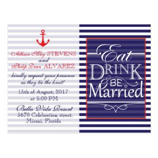 Coma, bebida y sea diseño náutico casado tarjetas postales