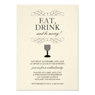 Coma, bebida y sea feliz invitación del cóctel