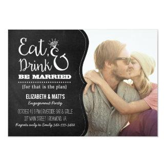 """Coma, bebida y sea fiesta de compromiso casado invitación 5"""" x 7"""""""