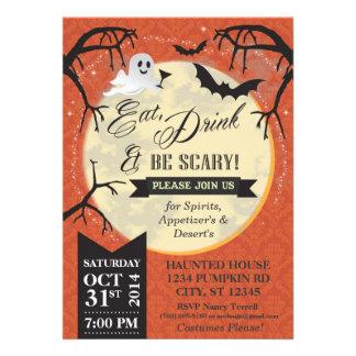 Coma, bebida y sea Halloween asustadizo invitan - Invitacion Personalizada