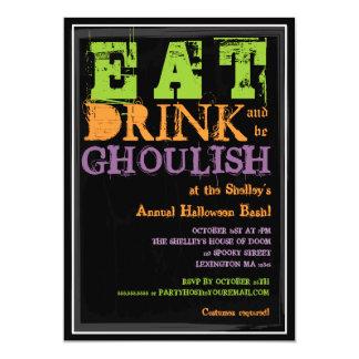 ¡Coma, bebida y sea horrible! Fiesta de Halloween Invitación Personalizada