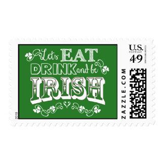 ¡Coma, bebida y sea irlandés! Sello del día de San