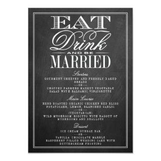 """Coma, bebida y sea menús casados del boda de la invitación 4.5"""" x 6.25"""""""