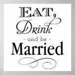 Coma, bebida y sea muestra casada impresiones