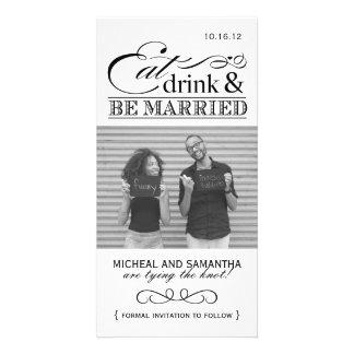 Coma, bebida y sea reserva casada las tarjetas de  plantilla para tarjeta de foto