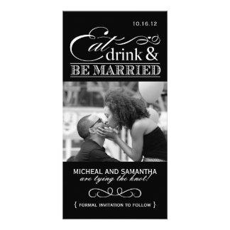 Coma, bebida y sea reserva casada las tarjetas de  tarjeta personal