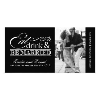 Coma, bebida y sea reserva casada que la fecha inv plantilla para tarjeta de foto