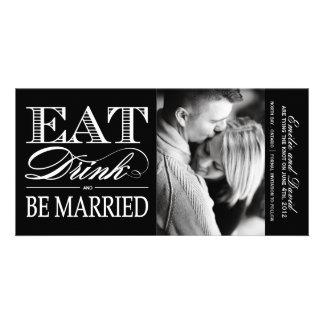 Coma, bebida y sea reserva casada que la fecha inv tarjetas fotográficas