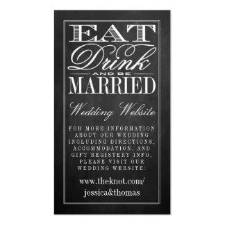 Coma, bebida y sea Web site casado del boda de la Tarjetas De Visita