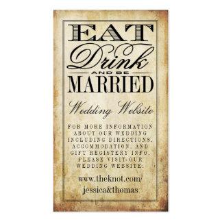 Coma, bebida y sea Web site casado del boda del Tarjetas De Visita