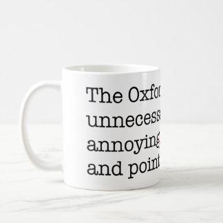 Coma de Anti-Oxford Taza Básica Blanca