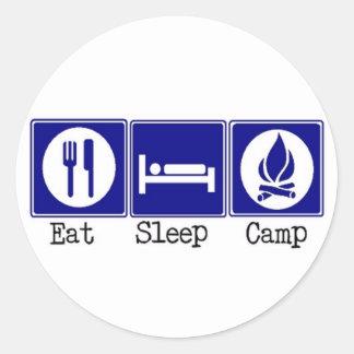 Coma, duerma, acampe etiquetas redondas
