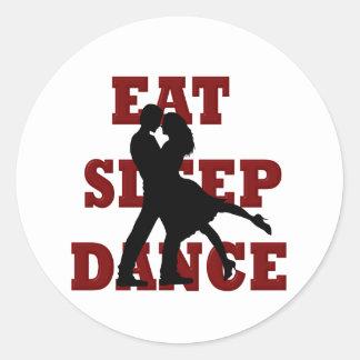 Coma, duerma, baile etiquetas redondas