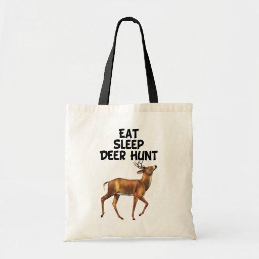 Coma, duerma, caza de los ciervos bolsa lienzo