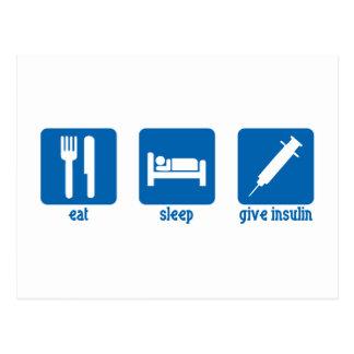 Coma, duerma, dé la insulina tarjetas postales