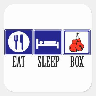 Coma, duerma, encajonando pegatina cuadrada