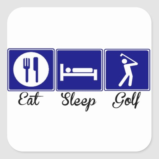 Coma, duerma, Golf Calcomania Cuadrada Personalizada