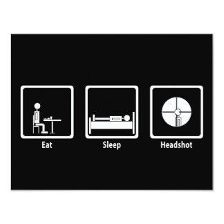 Coma, duerma, Headshot - videojugador de FPS Invitación 10,8 X 13,9 Cm