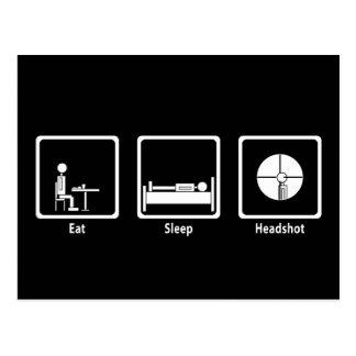 Coma, duerma, Headshot - videojugador de FPS Tarjeta Postal