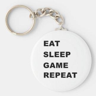 Coma, duerma, juego, repetición llavero redondo tipo pin