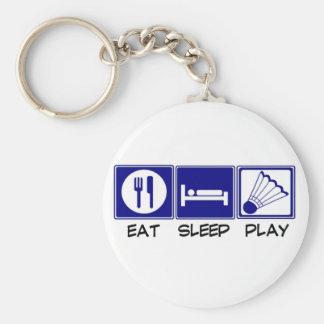 Coma, duerma, juegue al bádminton llaveros personalizados