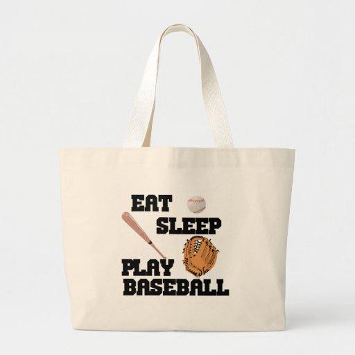Coma, duerma, juegue al béisbol bolsas lienzo