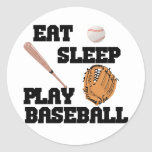Coma, duerma, juegue al béisbol etiqueta redonda
