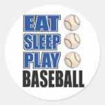 Coma, duerma, juegue al béisbol pegatinas redondas