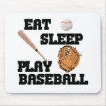 Coma, duerma, juegue al béisbol tapetes de raton