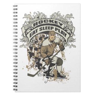 Coma, duerma, juegue al hockey note book