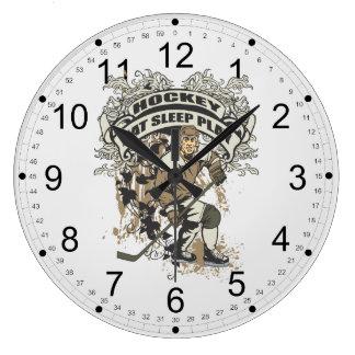 Coma, duerma, juegue al hockey reloj redondo grande