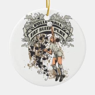 Coma, duerma, juegue al voleibol adorno redondo de cerámica