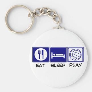 Coma, duerma, juegue al voleibol llavero redondo tipo pin