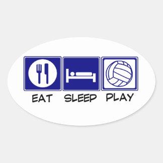 Coma, duerma, juegue al voleibol pegatina ovalada