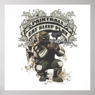 Coma, duerma, juegue Paintball Póster